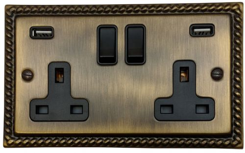 G&H MAB910B Monarch Roped Antique Bronze 2 Gang Double 13A Switched Plug Socket 2.1A USB